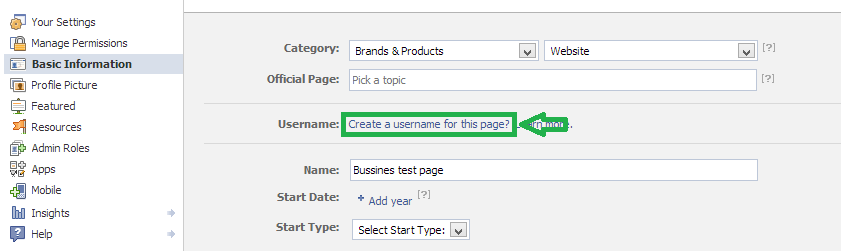 create username facebook