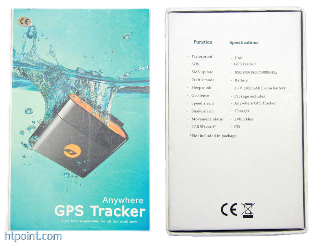 GPS TRACKER ANYWHERE box front and back